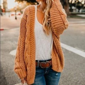 VICI Nestled Up Cable Knit Cardigan-  Amber